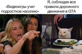 Женщина кричит на кота (мем года)
